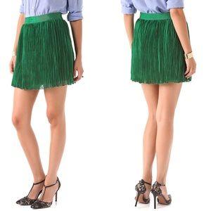 Club Monaco Pleated Lynnie Mini Skirt in Green